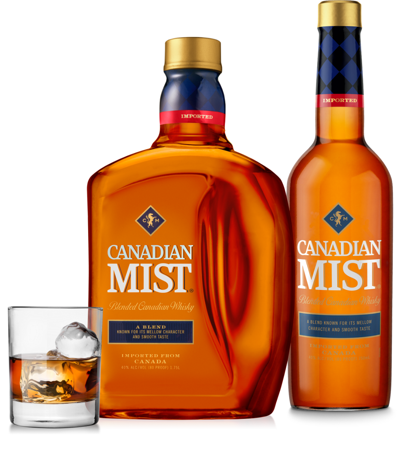 Two bottles of Canadian Mist whiskey alongside a serving glass
